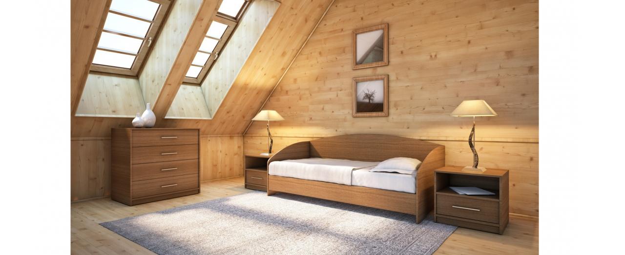 Кровать односпальная Этюд Софа Модель 356Встроенная ниша для спальных принадлежностей, подойдёт для небольшой спальни. Цвет орех. Купить односпальную кровать размером 80х200 см в интернет-магазине MOON TRADE. Артикул: К000036.<br>