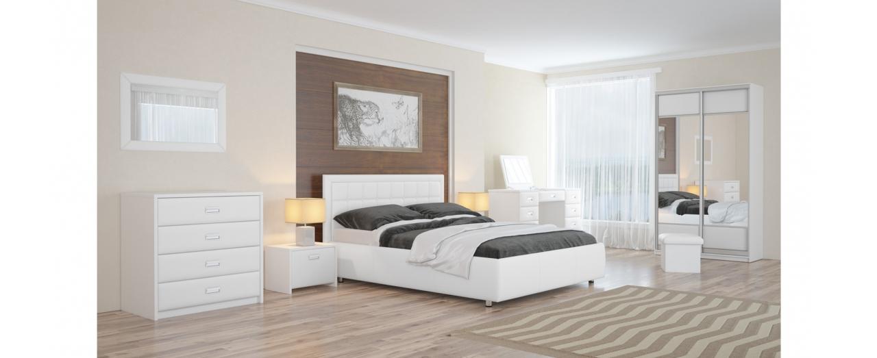 Кровать односпальная Veda 2 Модель 283Два варианта обивки. Изголовье украшено пуговицами или стразами. Берёзовые ламели усиливают ортопедический эффект. Спальное место 80х200 см. Доставка от 1 дня.<br>
