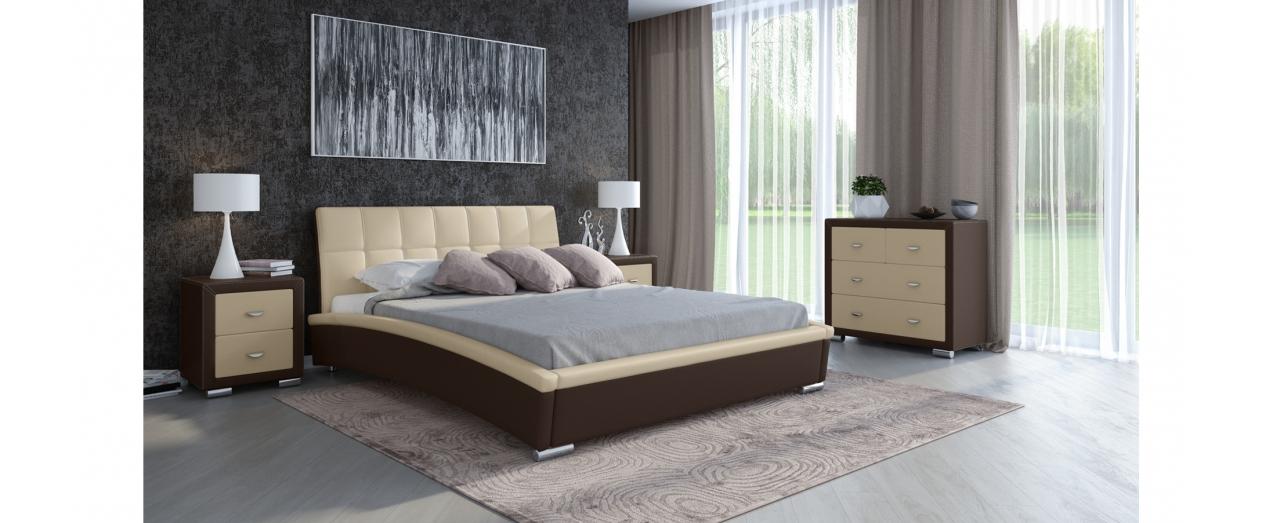 Кровать полутороспальная Corso 1 Модель 287Элегантная кровать в современном стиле из экокожи и мебельной ткани. Внешний вид дополняют хромированные ножки. Спальное место 140х200 см. Доставка от 1 дня. Артикул: К000145.<br>