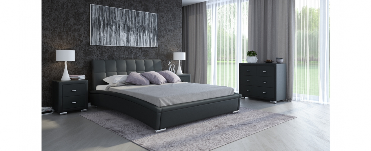 Кровать полутороспальная Corso 1 Модель 287Элегантная кровать в современном стиле из экокожи и мебельной ткани. Внешний вид дополняют хромированные ножки. Спальное место 140х200 см. Доставка от 1 дня.  Артикул: К000151.<br>