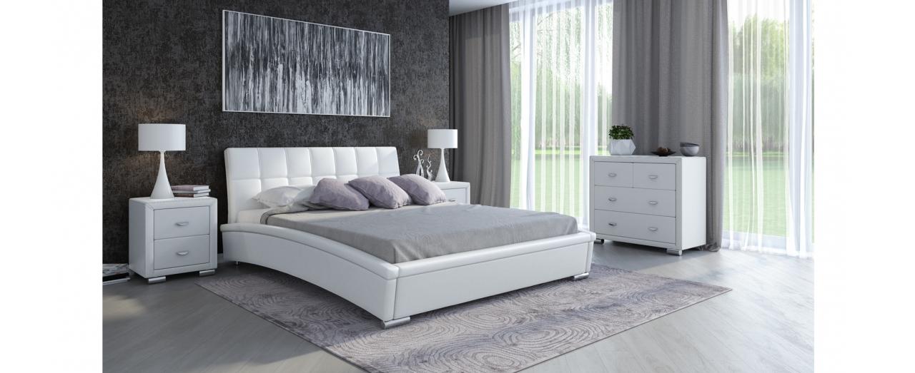 Кровать двуспальная Corso 1 Модель 287Элегантная кровать в современном стиле из экокожи и мебельной ткани. Внешний вид дополняют хромированные ножки. Спальное место 160х200 см. Доставка от 1 дня.<br>