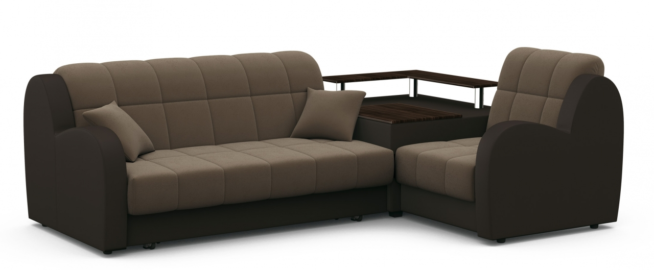 Диван угловой аккордеон Барон 022Гостевой вариант и полноценное спальное место. Размеры 250х179х88 см. Купить коричневый диван аккордеон с правым углом в интернет-магазине MOON TRADE.<br>