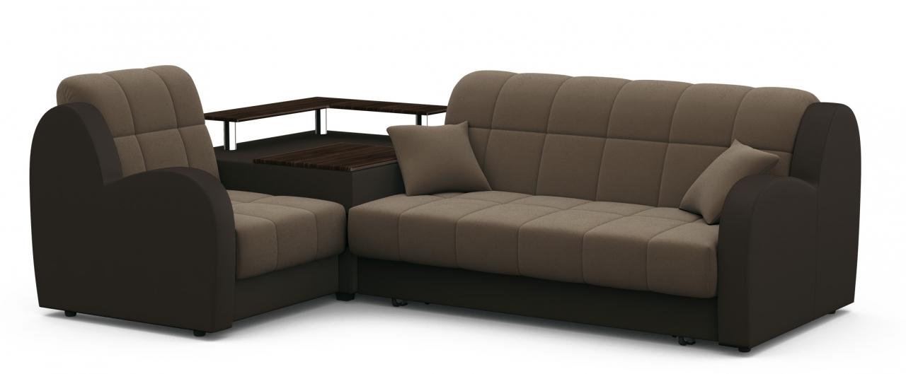 Диван угловой аккордеон Барон 022Гостевой вариант и полноценное спальное место. Размеры 250х179х88 см. Купить коричневый диван аккордеон с левым углом в интернет-магазине MOON TRADE.<br>