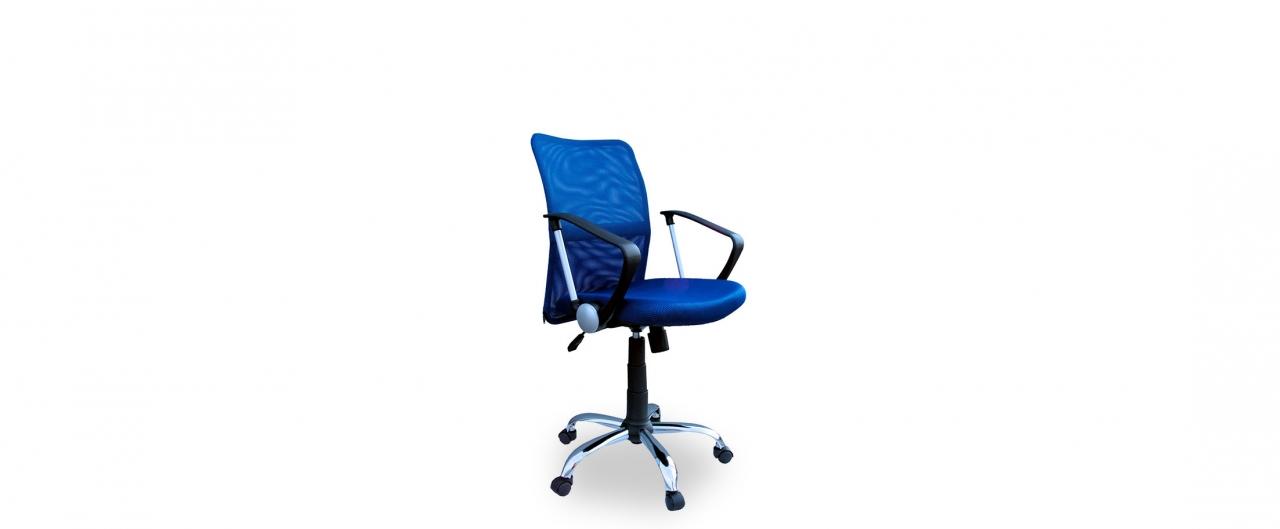 Кресло офисное Трикс Т-502 Модель 376Механизм подъёма и опускания: газ-лифт. Крестовина из хромированного металла. Максимальная нагрузка 120 кг. Доставка от 1 дня. Купить синее кресло в интернет-магазине MOON TRADE.<br>
