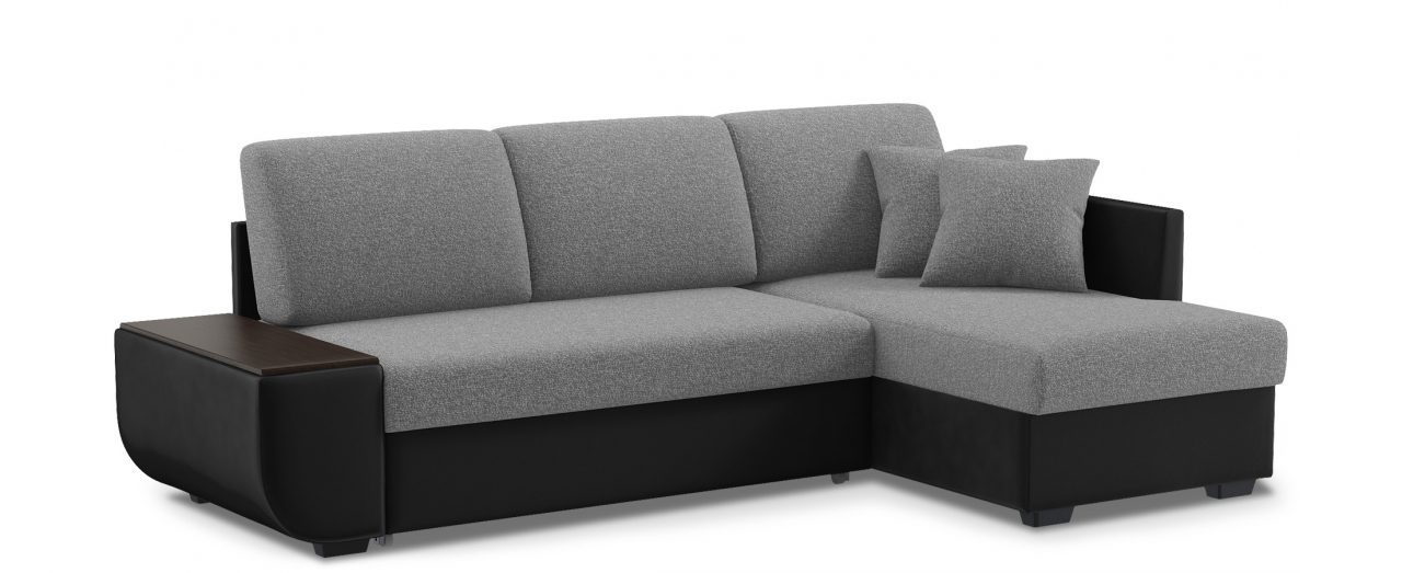 Диван угловой Нью-Йорк 102Гостевой вариант и полноценное спальное место. Размеры 243х146х87 см. Купить серый диван дельфин с правым углом в интернет-магазине MOON TRADE.<br>