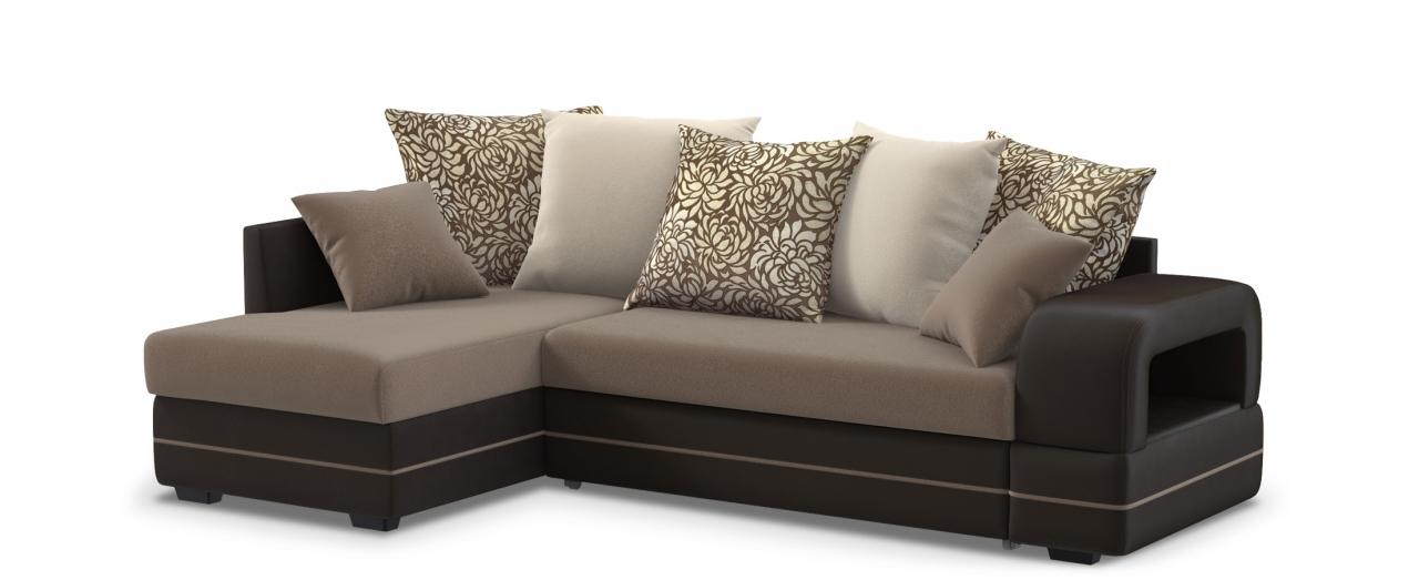 Диван угловой Модель 030Гостевой вариант и полноценное спальное место. Размеры 243х146х95 см. Купить тёмно-коричневый диван дельфин с левым углом в интернет-магазине MOON TRADE.<br>