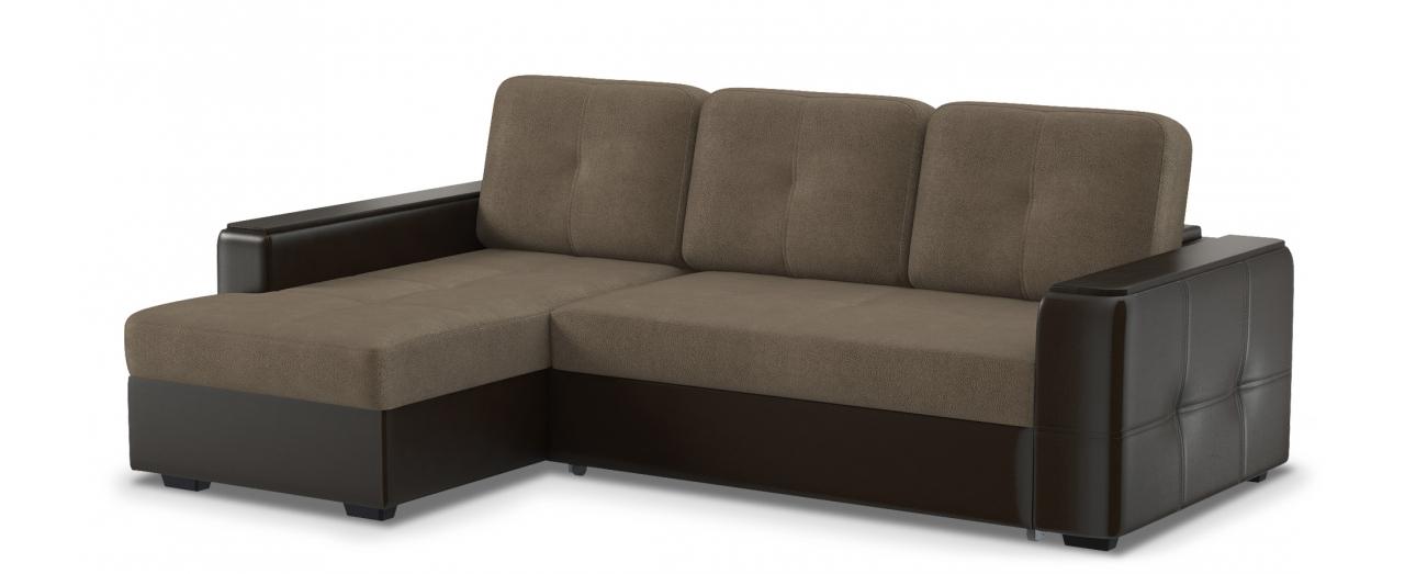 Диван угловой Брюссель 081Гостевой вариант и полноценное спальное место. Размеры 241х163х94 см. Купить коричневый диван дельфин с левым углом в интернет-магазине MOON TRADE.<br>