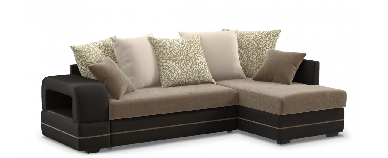 Диван угловой Модель 030Гостевой вариант и полноценное спальное место. Размеры 243х146х95 см. Купить коричневый диван дельфин с правым углом в интернет-магазине MOON TRADE.<br>
