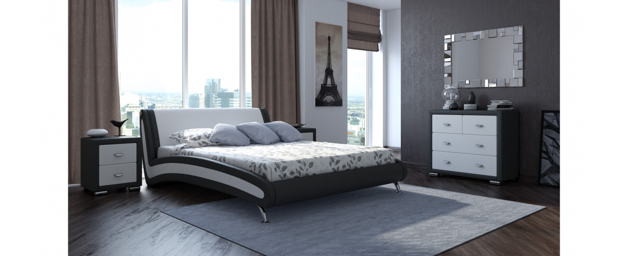 Кровать полутороспальная Corso 2 Модель 286Плавные изгибы и комбинированное цветовое решение сделают вашу спальню стильной. Обивка из долговечной экокожи. Спальное место 140х200 см. Доставка от 1 дня. Гарантия 18 мес.<br>