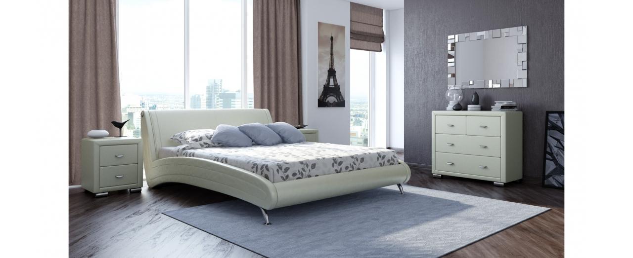 Кровать двуспальная Corso 2 Модель 286Плавные изгибы и комбинированное цветовое решение сделают вашу спальню стильной. Обивка из долговечной экокожи. Спальное место 160х200 см. Доставка от 1 дня. Гарантия 18 мес.<br>