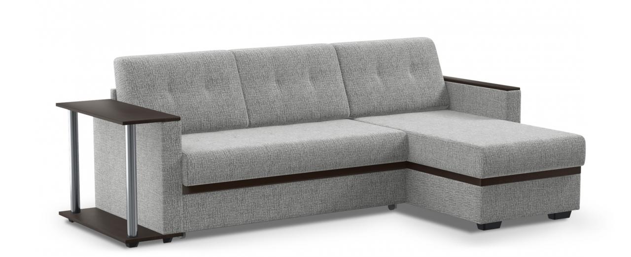 Диван угловой Атланта Модель 124Гостевой вариант и полноценное спальное место. Размеры 242х146х85 см. Купить светло-серый диван дельфин с универсальным углом в интернет-магазине MOON TRADE.<br>