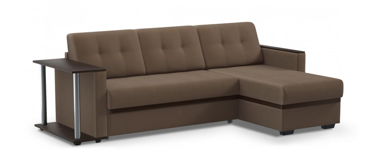 Диван угловой дельфин Атланта 124Гостевой вариант и полноценное спальное место. Размеры 242х146х85 см. Купить коричневый диван дельфин с универсальным углом в интернет-магазине MOON TRADE.<br>