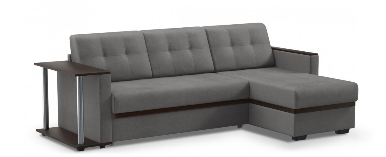 Диван угловой дельфин Атланта 124Гостевой вариант и полноценное спальное место. Размеры 242х146х85 см. Купить тёмно-серый диван дельфин с универсальным углом в интернет-магазине MOON TRADE.<br>