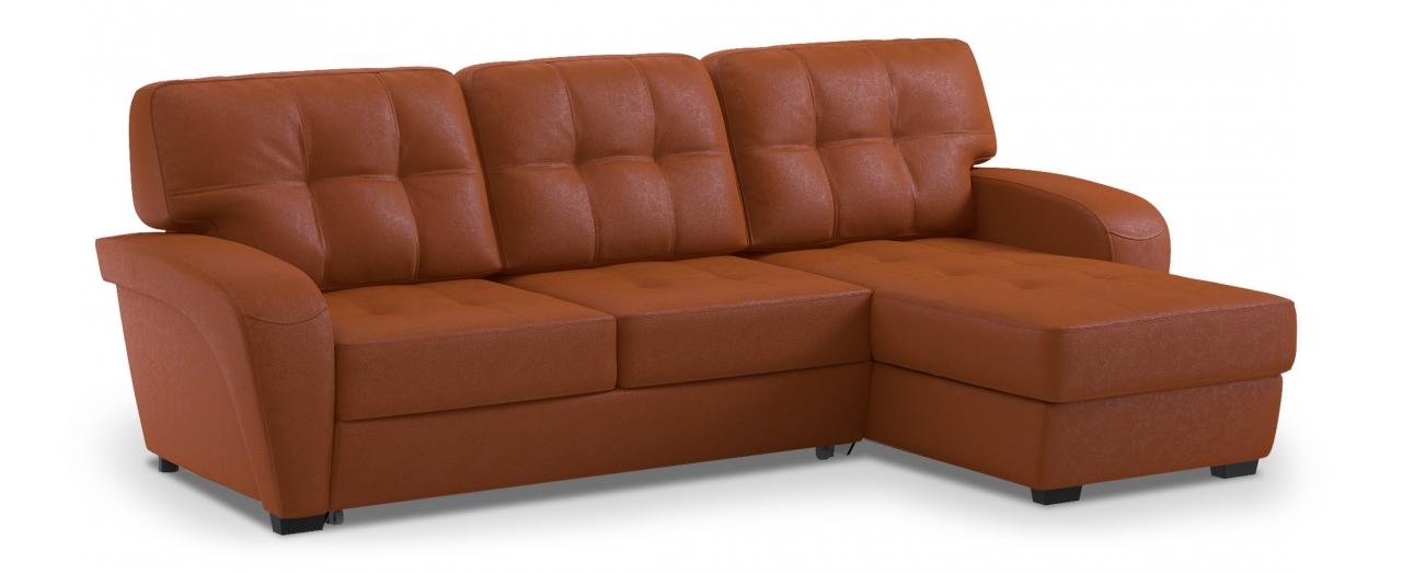 Диван угловой дельфин Честер 106Гостевой вариант и полноценное спальное место. Размеры 254х161х95 см. Купить оранжевый диван дельфин с универсальным углом в интернет-магазине MOON TRADE.<br>