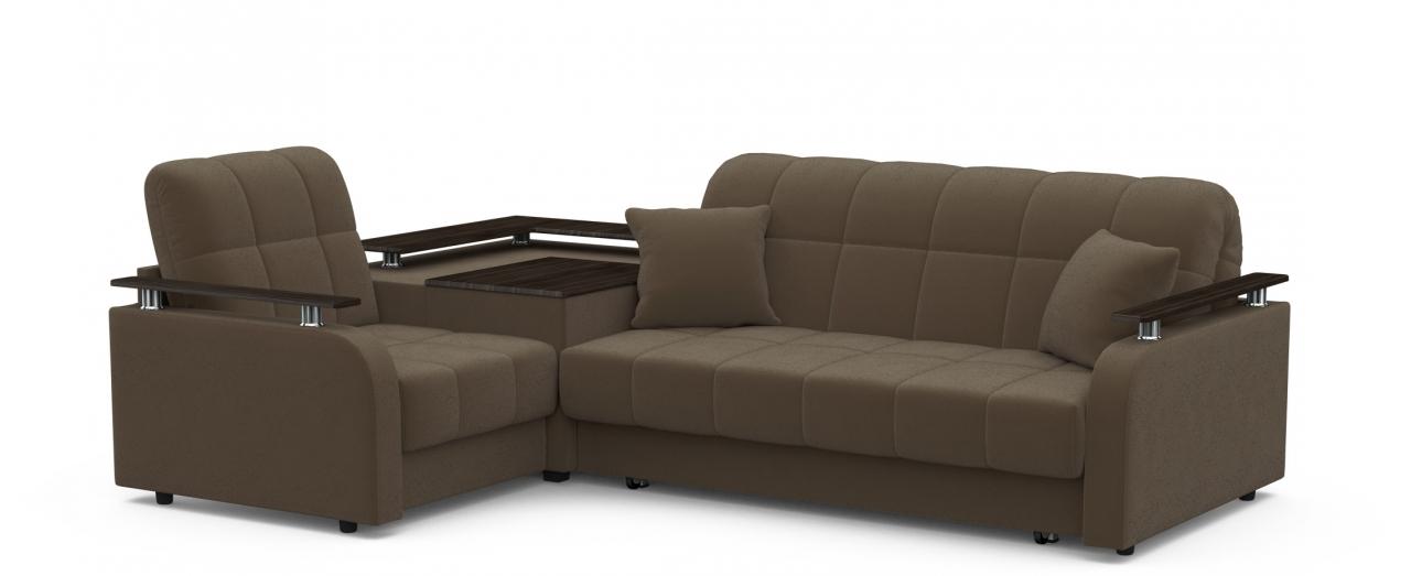 Диван угловой аккордеон Карина 044Гостевой вариант и полноценное спальное место. Размеры 250х179х88 см. Купить тёмно-коричневый диван аккордеон с левым углом в интернет-магазине MOON TRADE.<br>