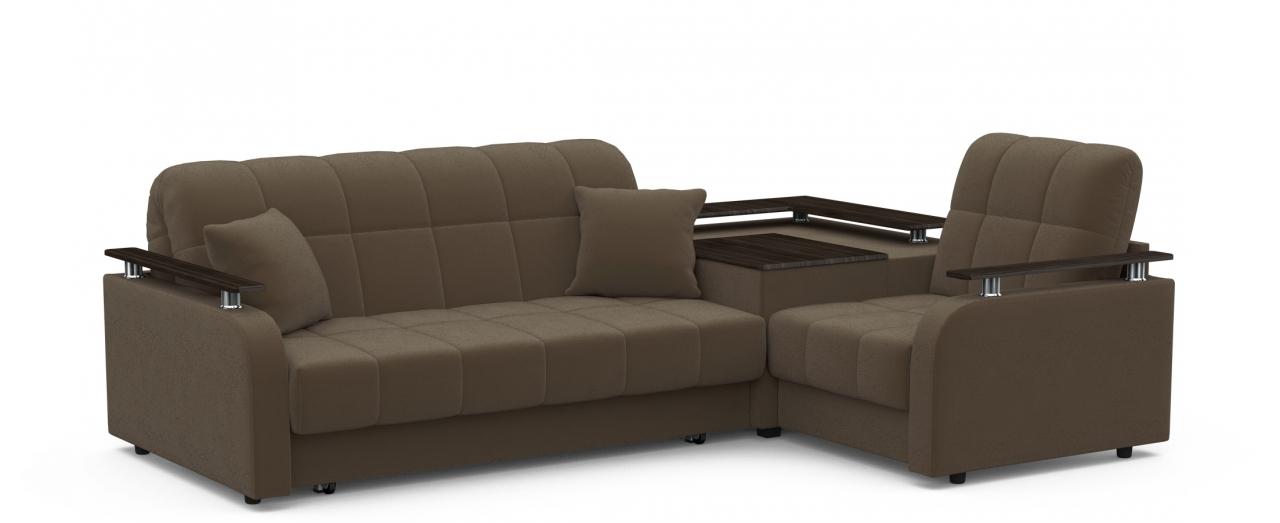 Диван угловой аккордеон Карина 044Гостевой вариант и полноценное спальное место. Размеры 250х179х88 см. Купить тёмно-коричневый диван аккордеон с правым углом в интернет-магазине MOON TRADE.<br>
