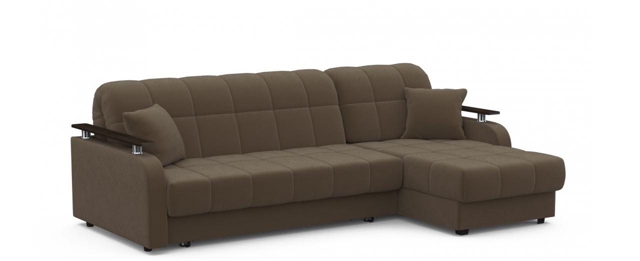 Диван угловой аккордеон Карина 044Гостевой вариант и полноценное спальное место. Размеры 243х161х88 см. Купить тёмно-коричневый диван аккордеон с универсальным углом в интернет-магазине MOON TRADE.<br>
