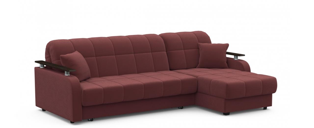Диван угловой аккордеон Карина 044Гостевой вариант и полноценное спальное место. Размеры 243х161х88 см. Купить красно-коричневый диван аккордеон с универсальным углом в интернет-магазине MOON TRADE.<br>
