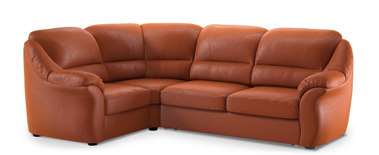 Диван угловой высоковыкатной Бостон 017Гостевой вариант и полноценное спальное место. Размеры 273х190х99 см. Купить оранжевый диван высоковыкатной с левым углом в интернет-магазине MOON TRADE.<br>