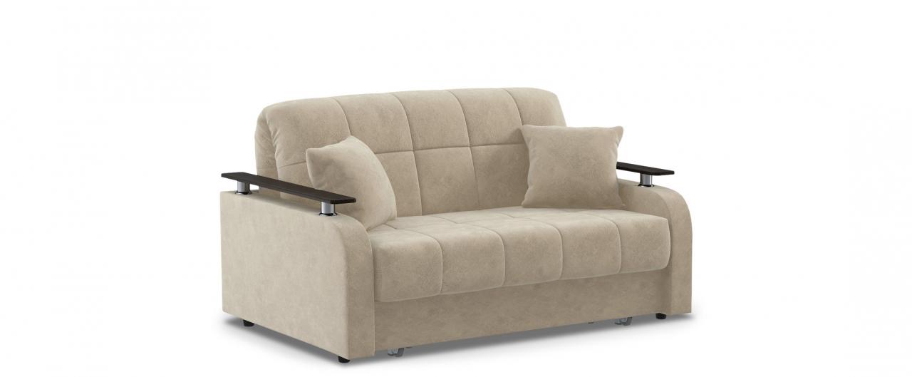 Диван прямой аккордеон Карина 044Гостевой вариант и полноценное спальное место. Размеры 150х104х88 см. Купить бежевый диван аккордеон с декором венге в интернет-магазине MOON-TRADE.RU.<br>