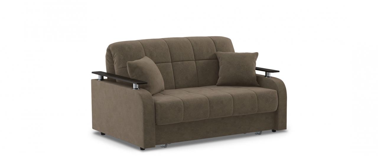 Диван прямой аккордеон Карина 044Гостевой вариант и полноценное спальное место. Размеры 150х104х88 см. Купить коричневый диван аккордеон с декором венге в интернет-магазине MOON-TRADE.RU.<br>