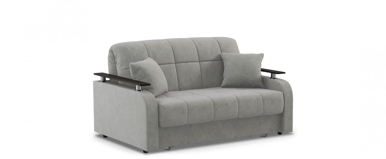 Диван прямой Карина 044Гостевой вариант и полноценное спальное место. Размеры 150х104х88 см. Купить серый диван аккордеон с декором венге в интернет-магазине MOON TRADE.<br>