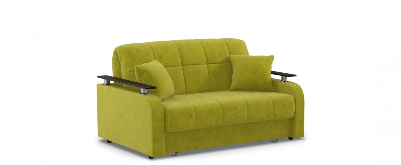 Диван прямой аккордеон Карина 044Гостевой вариант и полноценное спальное место. Размеры 150х104х88 см. Купить желтый диван аккордеон с декором венге в интернет-магазине MOON TRADE.<br>