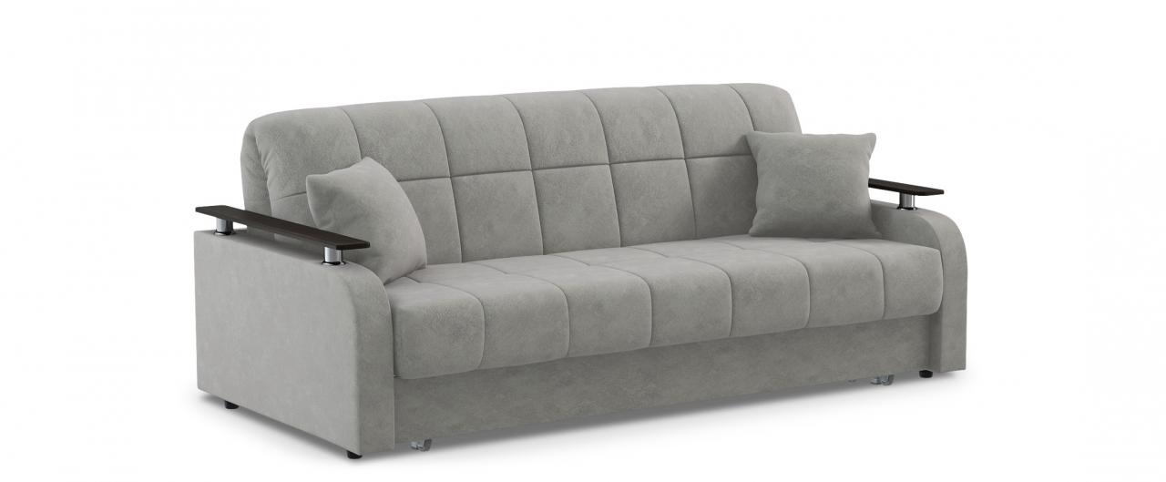 Диван прямой Карина 044Гостевой вариант и полноценное спальное место. Размеры 210х104х88 см. Купить серый диван аккордеон с декором венге в интернет-магазине MOON TRADE.<br>