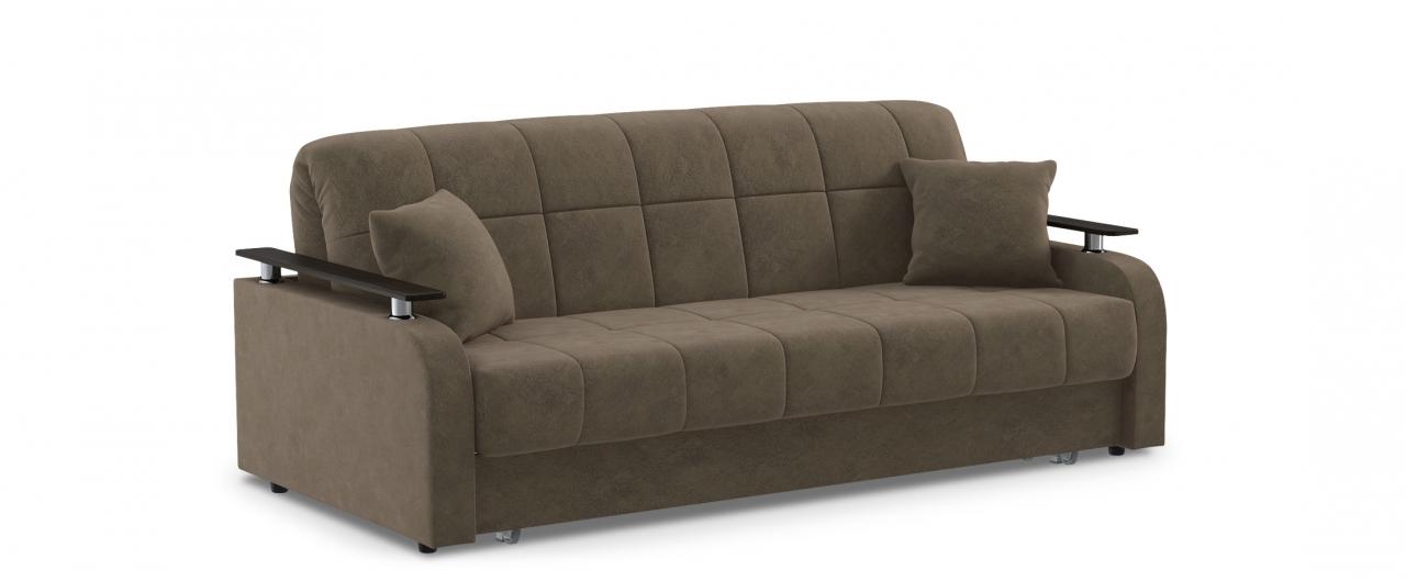 Диван прямой аккордеон Карина 044Гостевой вариант и полноценное спальное место. Размеры 210х104х88 см. Купить коричневый диван аккордеон с декором венге в интернет-магазине MOON TRADE.<br>