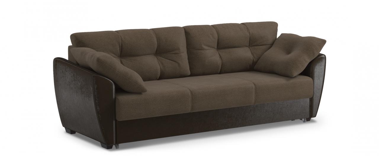 Диван прямой еврокнижка Амстердам 051Гостевой вариант и полноценное спальное место. Размеры 241х93х87 см. Купить коричневый диван еврокнижка в интернет-магазине MOON TRADE.<br>