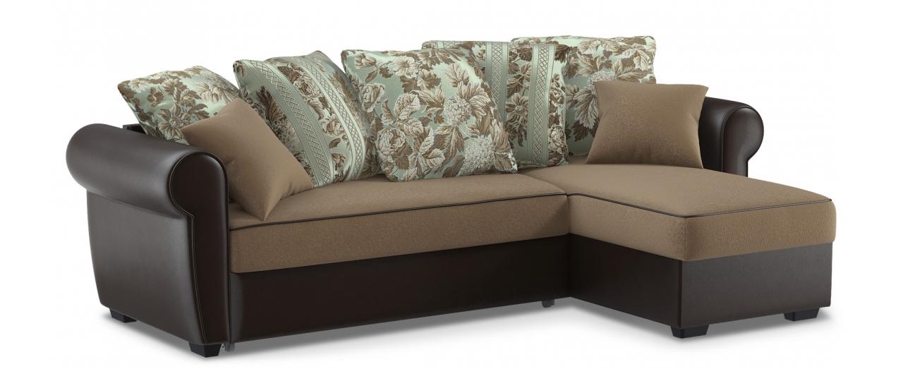Диван угловой дельфин Рейн 123Гостевой вариант и полноценное спальное место. Размеры 242х146х90 см. Купить коричневый диван дельфин с универсальным углом в интернет-магазине MOON TRADE.<br>