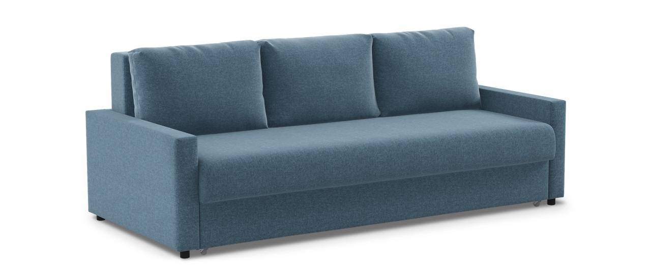 Диван прямой еврокнижка синий Дублин 132Диваны прямые<br>Гостевой вариант и полноценное спальное место. Размеры 225х108х95 см. Купить синий диван еврокнижка в интернет-магазине MOON TRADE.<br>