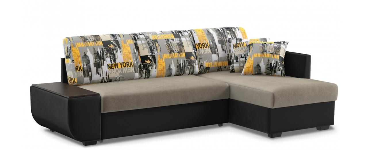 Диван угловой дельфин Нью-Йорк 102Гостевой вариант и полноценное спальное место. Размеры 243х146х87 см. Купить серый диван дельфин с правым углом в интернет-магазине MOON TRADE.<br>