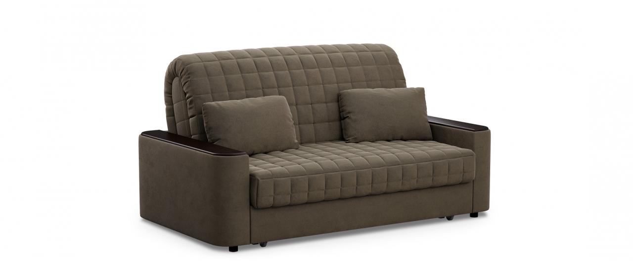 Диван прямой аккордеон Даллас 018Гостевой вариант и полноценное спальное место. Размеры 170х104х90 см. Купить коричневый диван аккордеон с черным декором в интернет-магазине MOON TRADE.<br>