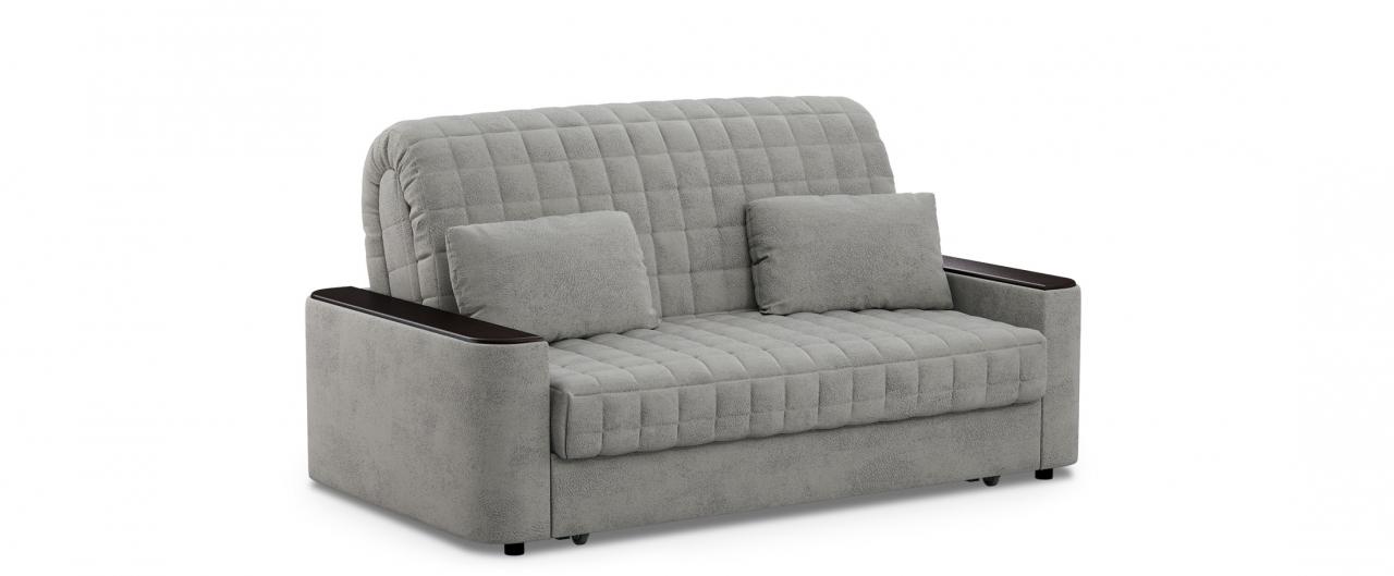 Диван прямой аккордеон Даллас 018Гостевой вариант и полноценное спальное место. Размеры 170х104х90 см. Купить серый диван аккордеон с черным декором в интернет-магазине MOON TRADE.<br>