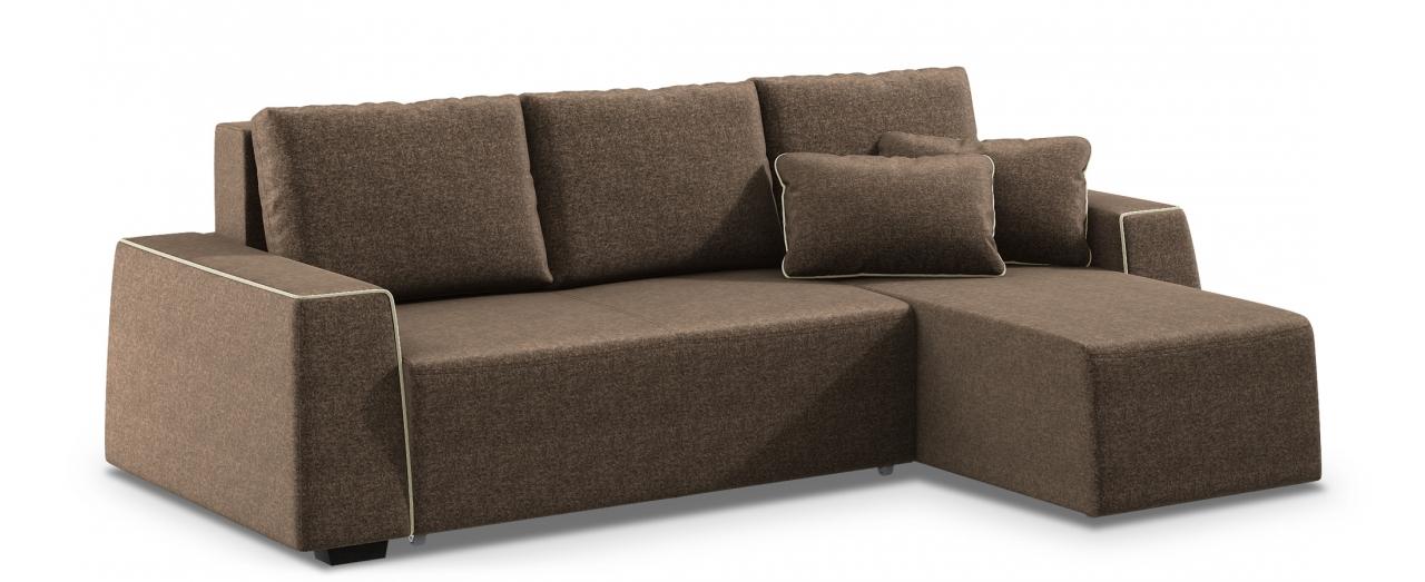 Диван угловой Манхэттен 067Гостевой вариант и полноценное спальное место. Размеры 258х168х88 см. Купить коричневый диван еврокнижка с универсальным углом в интернет-магазине MOON TRADE.<br>