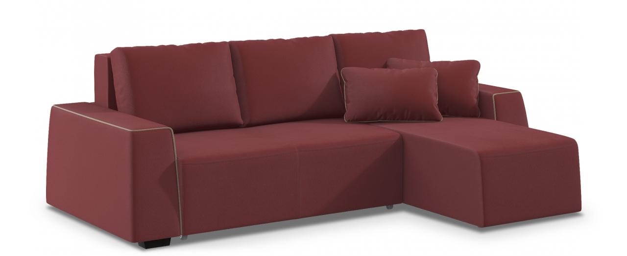 Диван угловой Манхэттен 067Гостевой вариант и полноценное спальное место. Размеры 258х168х88 см. Купить бордовый диван еврокнижка с универсальным углом в интернет-магазине MOON TRADE.<br>