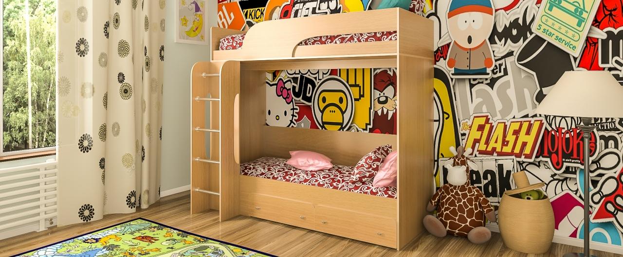 Кровать односпальная Катюша-1 Модель 505Просторна за счёт особенностей конструкции и отсутствия боковых стенок. Цвета ящиков в двух вариантов. Спальное место 80х200 см. Гарантия 18 месяцев. Доставка от 1 дня.<br>