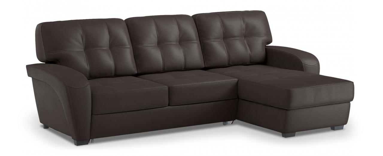 Диван угловой Честер 106Гостевой вариант и полноценное спальное место. Размеры 254х161х95 см. Купить коричневый диван дельфин с универсальным углом в интернет-магазине MOON TRADE.<br>