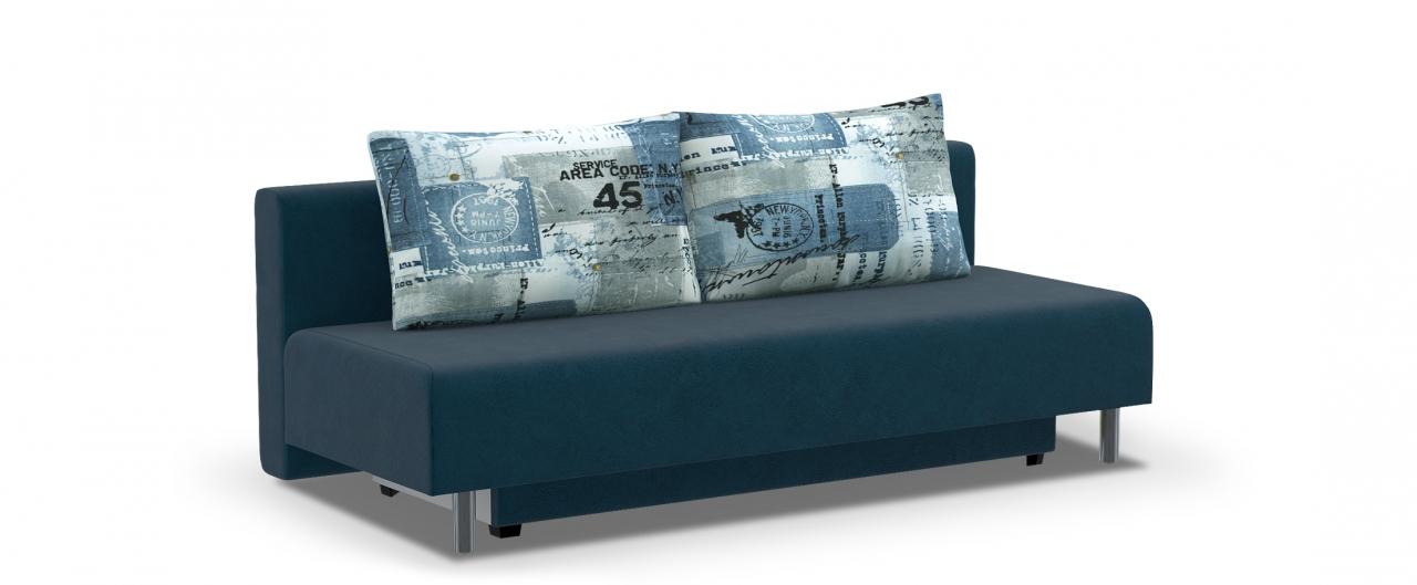 Диван прямой еврокнижка Парма 049Гостевой вариант и полноценное спальное место. Размеры 205х88х87 см. Купить синий диван еврокнижка в интернет-магазине MOON TRADE.<br>
