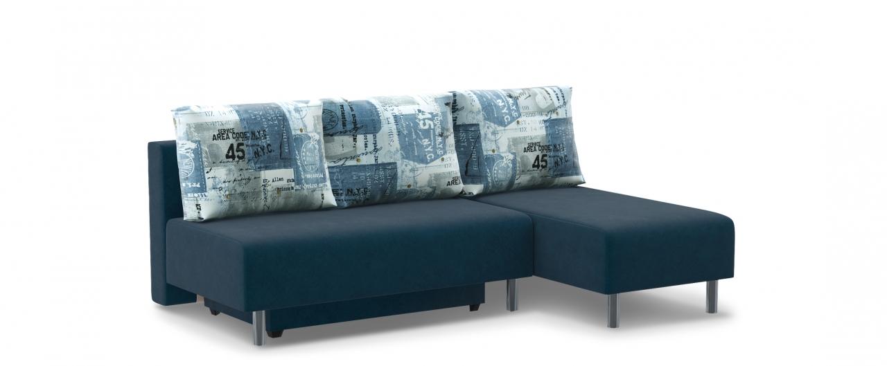 Диван угловой еврокнижка Парма 049Гостевой вариант и полноценное спальное место. Размеры 206х136х87 см. Купить синий диван еврокнижка в интернет-магазине MOON TRADE.<br>