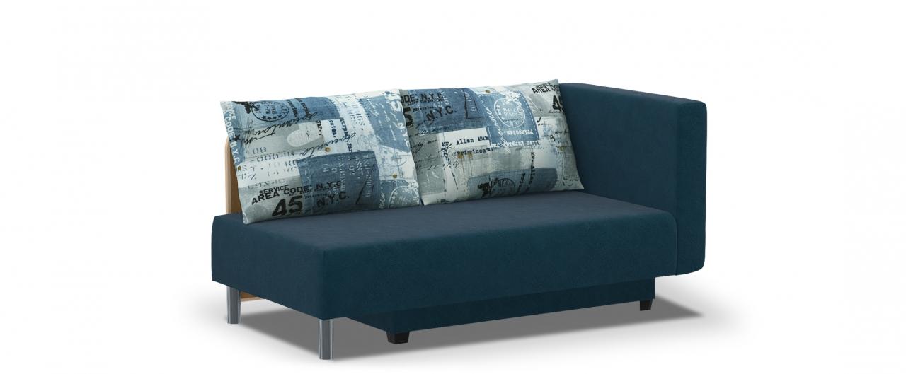 Диван прямой еврокнижка Лион 060Гостевой вариант и полноценное спальное место. Размеры 155х84х79 см. Купить синий диван еврокнижка с правым подлокотником в интернет-магазине MOON TRADE.<br>
