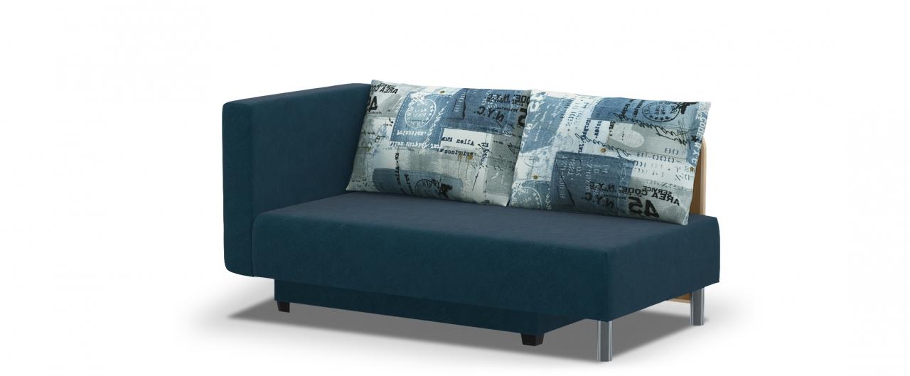 Диван прямой еврокнижка Лион 060Гостевой вариант и полноценное спальное место. Размеры 155х84х79 см. Купить синий диван еврокнижка с левым подлокотником в интернет-магазине MOON TRADE.<br>