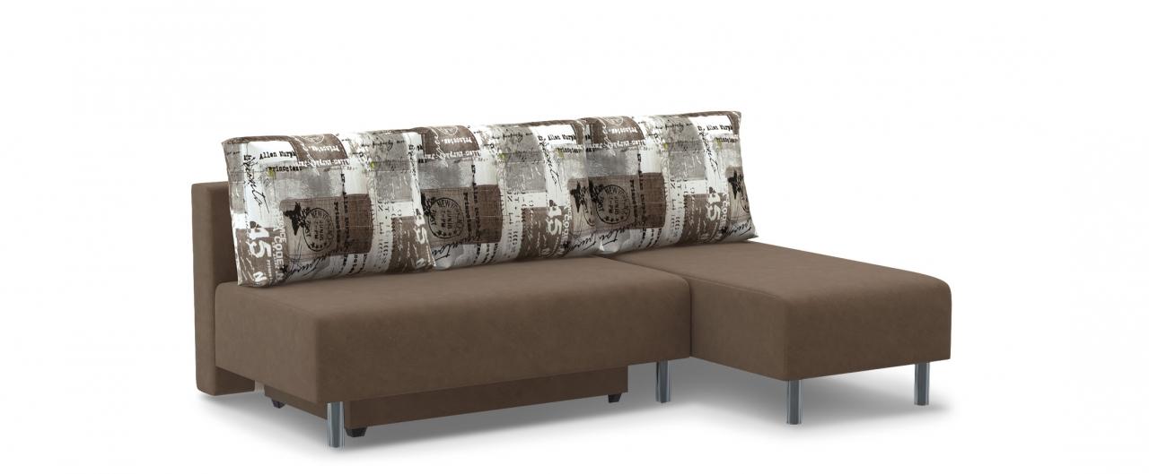 Диван угловой еврокнижка Парма 049Гостевой вариант и полноценное спальное место. Размеры 206х136х87 см. Купить коричневый диван еврокнижка в интернет-магазине MOON TRADE.<br>