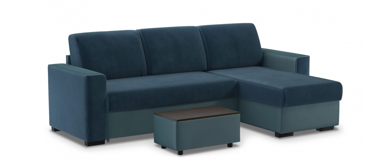 Диван угловой дельфин Лофт 126Гостевой вариант и полноценное спальное место. Размеры 258х146х89 см. Купить синий диван дельфин с универсальным углом в интернет-магазине MOON TRADE.<br>
