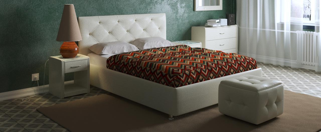 Кровать двуспальная Монблан Модель 383«Монблан» станет центром внимания в спальне. Утяжки средней глубины кропотливо собраны вручную и подчеркнуты пуговицами.<br>
