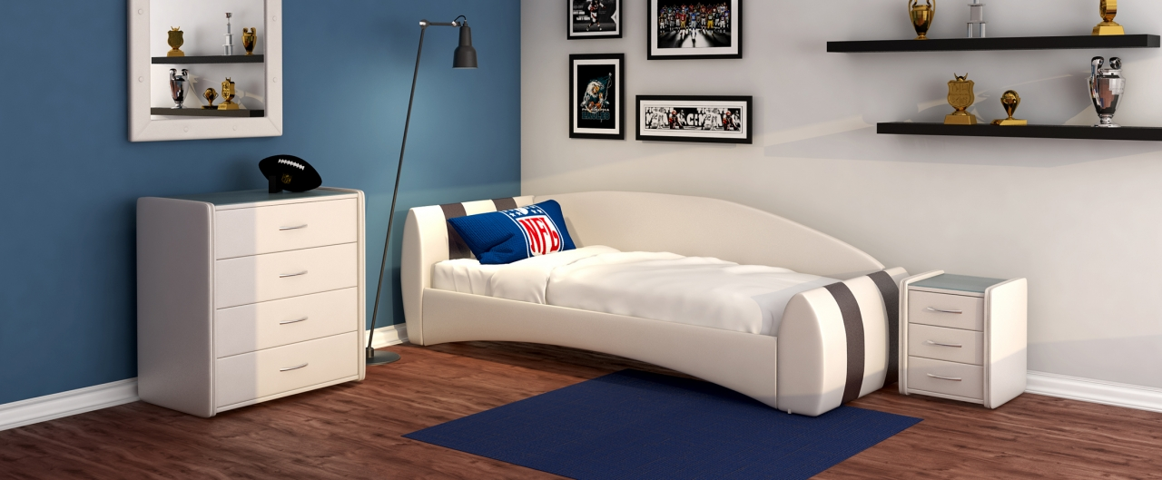 Кровать односпальная Кальвет Модель 387Односпальная модель с современным дизайном отлично впишется в интерьер подростковой комнаты. Расположение спинки возможно как левое, так и правое.<br>