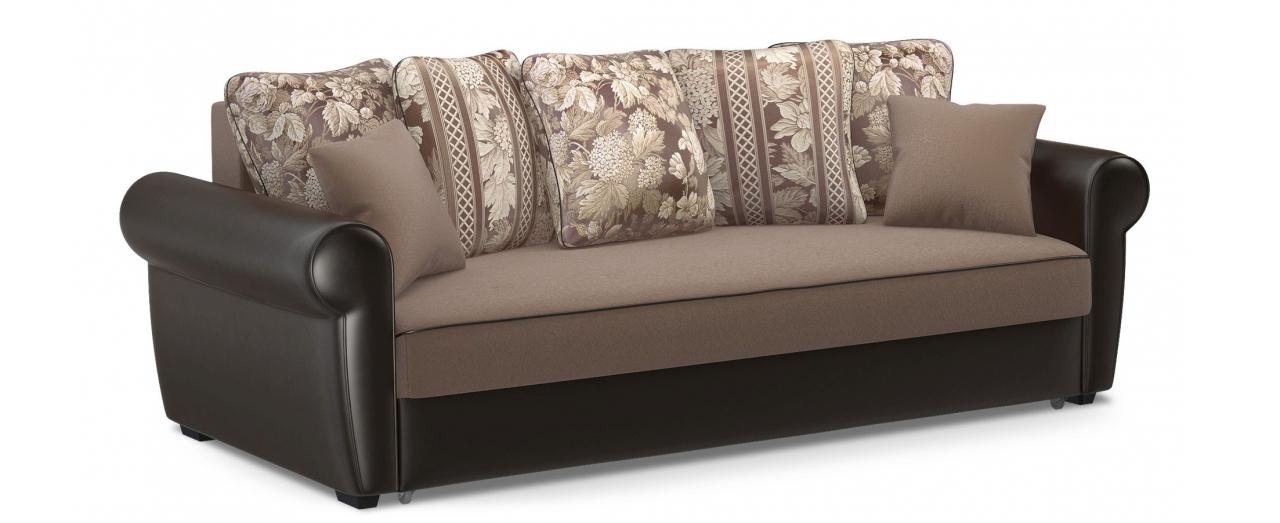 Диван прямой еврокнижка Рейн 123Гостевой вариант и полноценное спальное место. Размеры 243х108х94 см. Купить кориченвый диван еврокнижка в интернет-магазине MOON TRADE.<br>