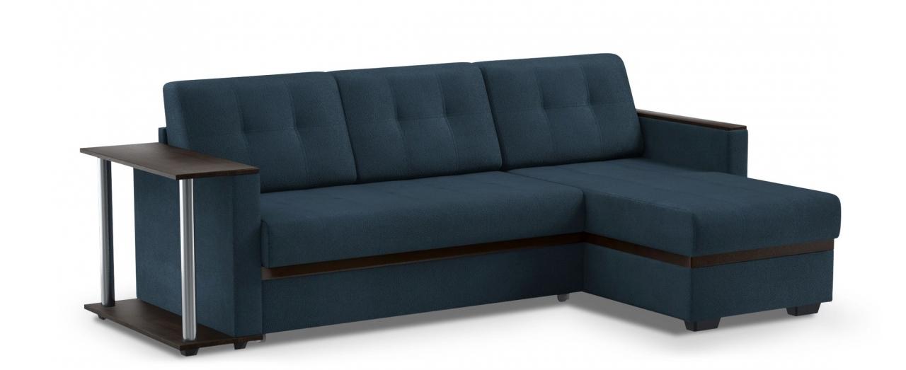 Диван угловой дельфин Атланта 066Гостевой вариант и полноценное спальное место. Размеры 242х146х85 см. Купить синий диван дельфин с универсальным углом в интернет-магазине MOON TRADE.<br>