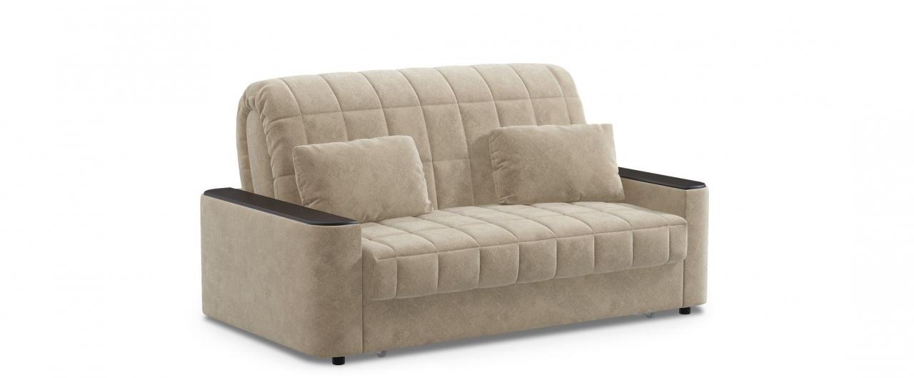 Диван прямой аккордеон Даллас 018Гостевой вариант и полноценное спальное место. Размеры 170х104х90 см. Купить бежевый диван аккордеон с черным декором в интернет-магазине MOON TRADE.<br>